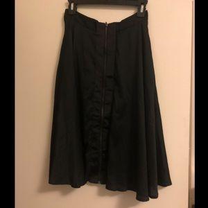 Lucy Paris Midi Bold Front Zipper Skirt Black